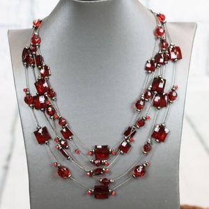 Red Multi-strand Illusion Necklace